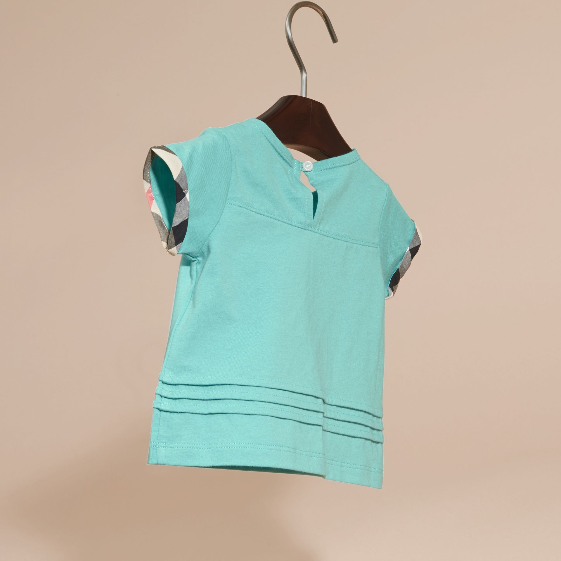 Pleat and Check Detail Cotton T-shirt in Pale Turquoise - gallery image 4