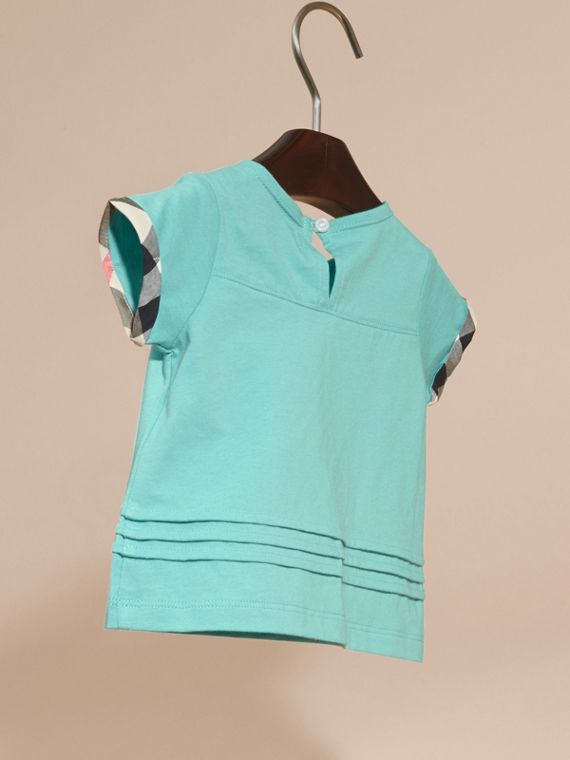 Pleat and Check Detail Cotton T-shirt in Pale Turquoise - cell image 3