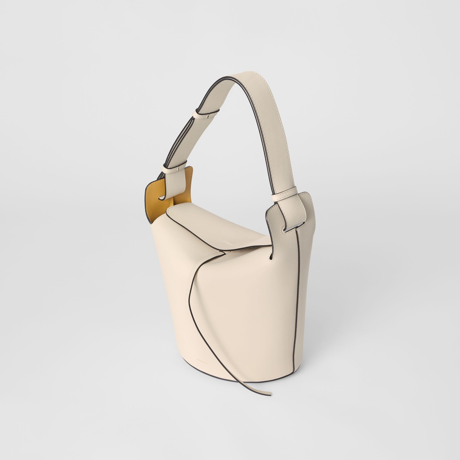 The Medium Leather Bucket Bag in Limestone - Women | Burberry - gallery image 4