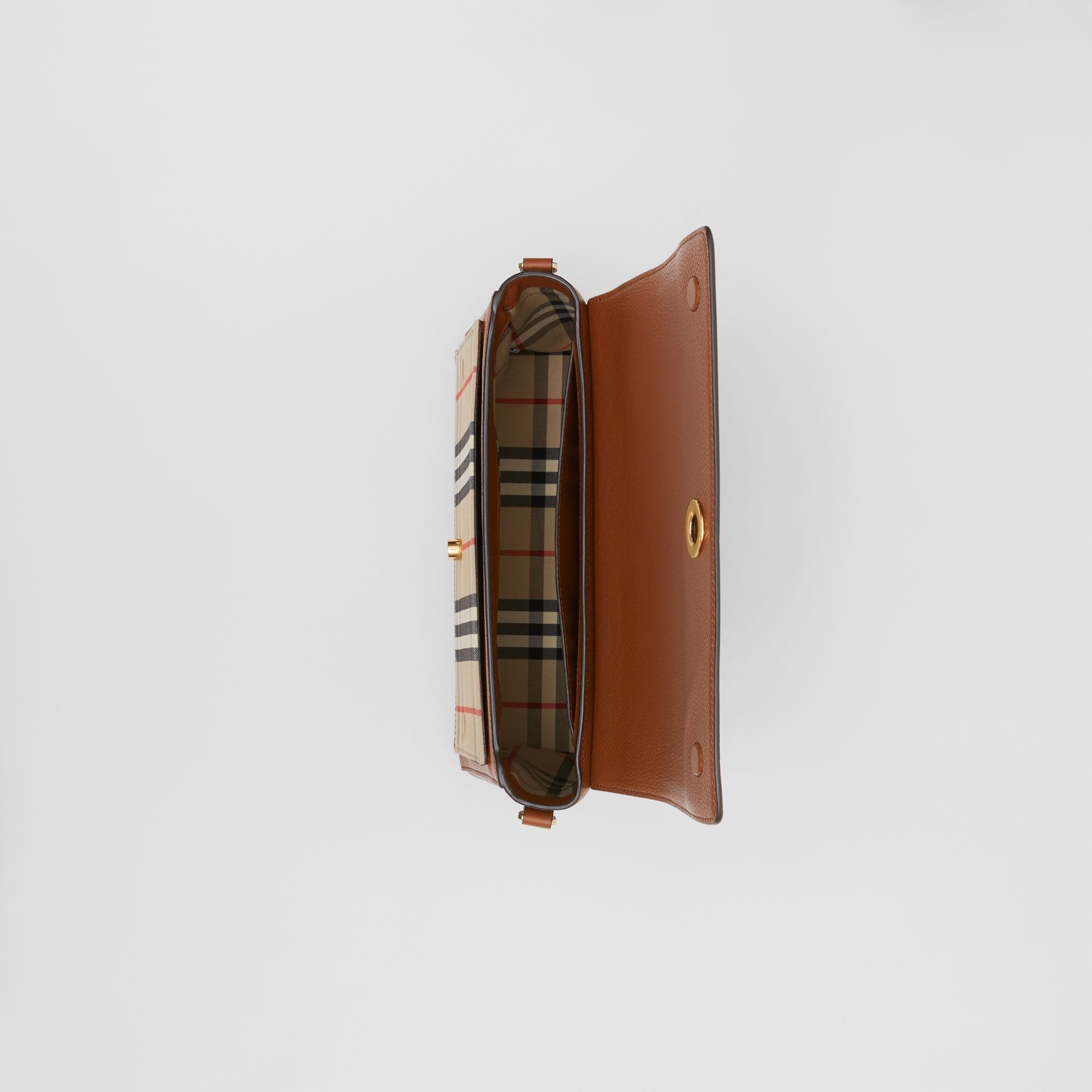Leather and Vintage Check Note Crossbody Bag in Tan - Women | Burberry - gallery image 4