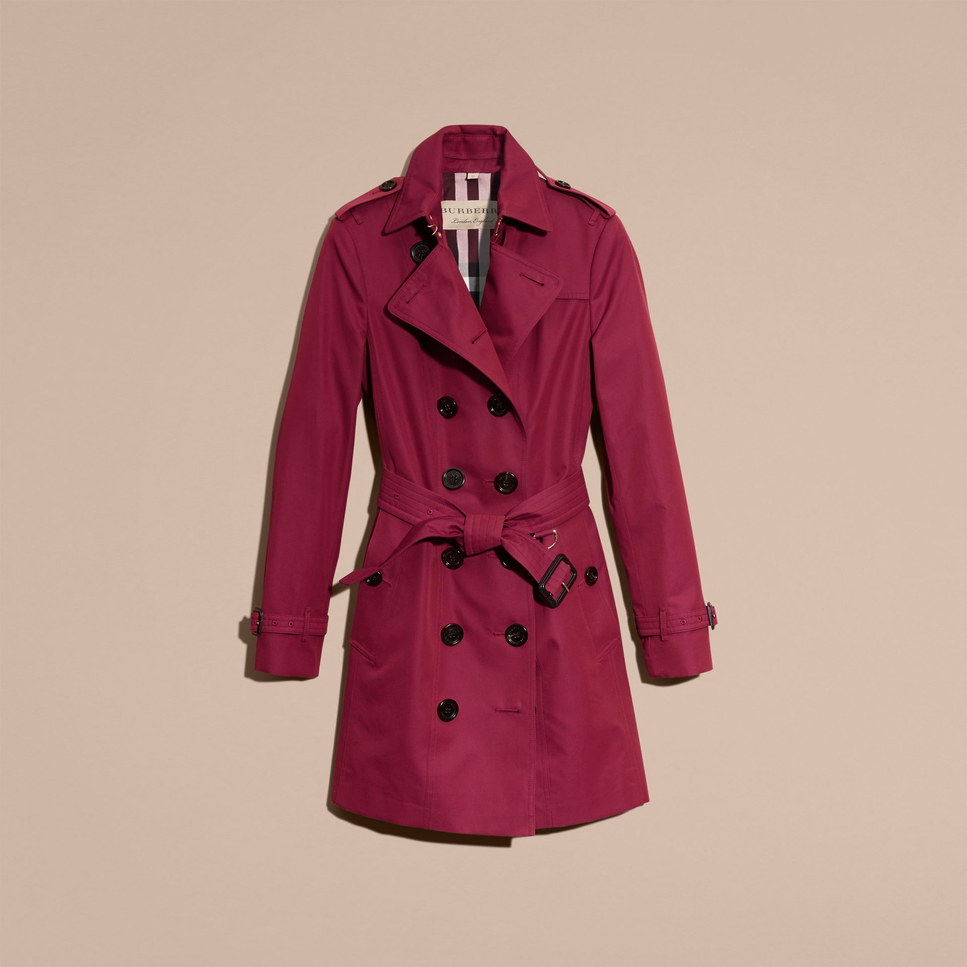 Cotton Gabardine Trench Coat in Damson Pink - gallery image 4