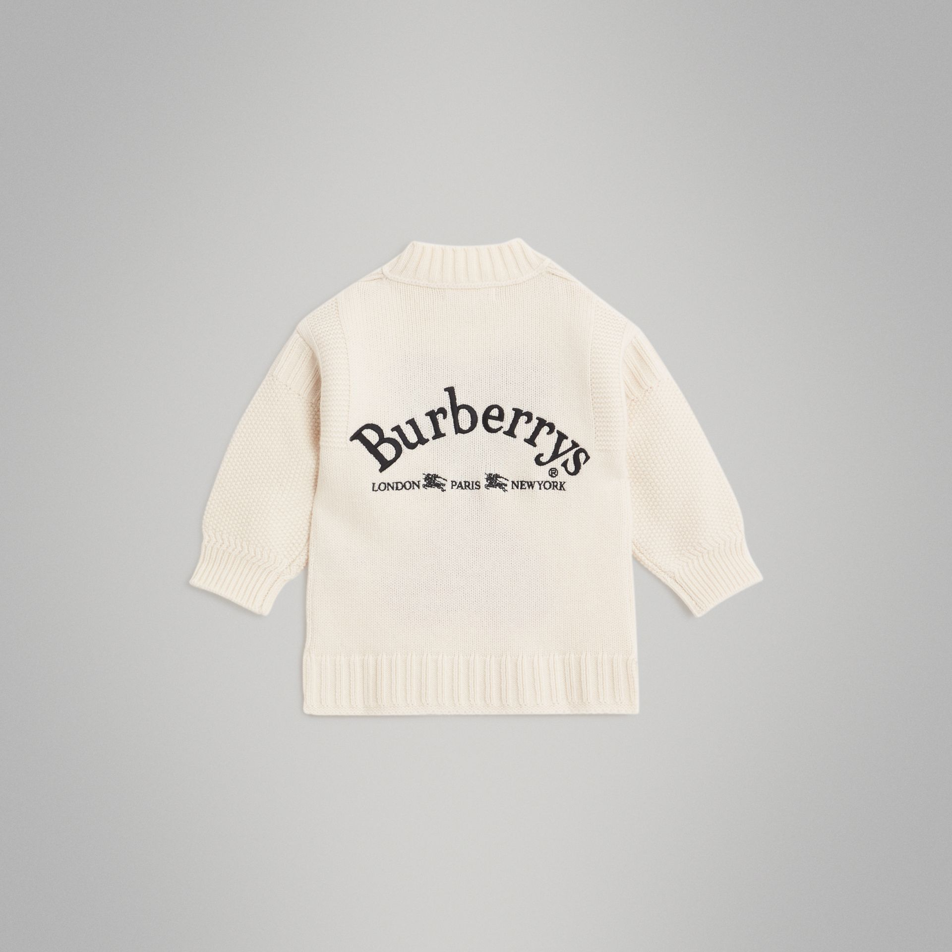 Double Heart Intarsia Wool Cashmere Sweater in Ivory | Burberry - gallery image 3