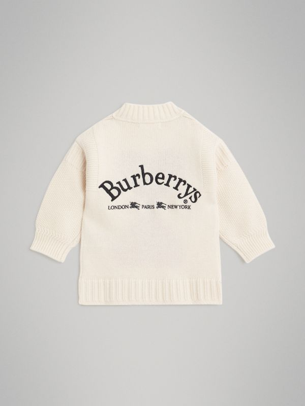 Double Heart Intarsia Wool Cashmere Sweater in Ivory | Burberry - cell image 3