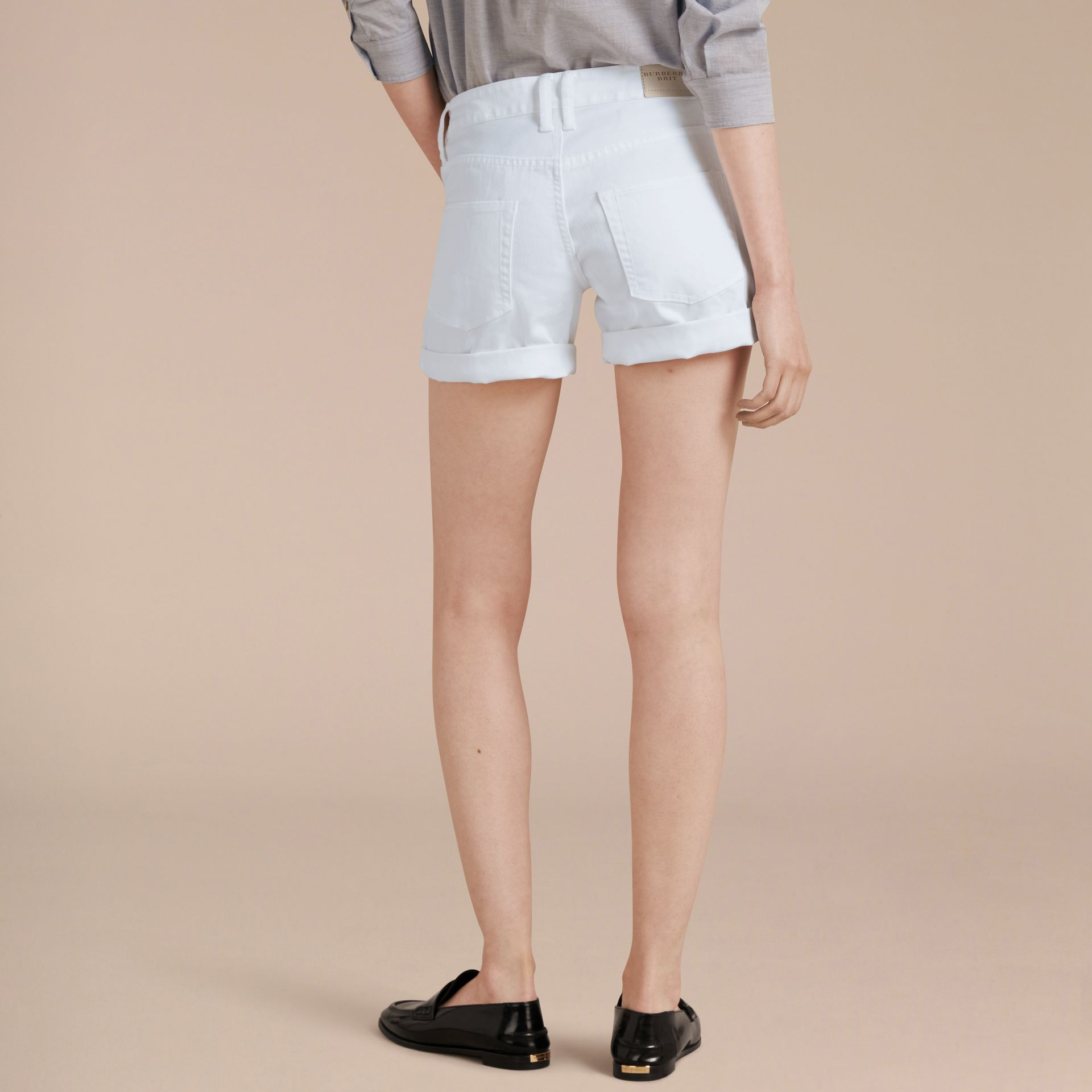 White Low-Rise Japanese Denim Shorts - gallery image 3
