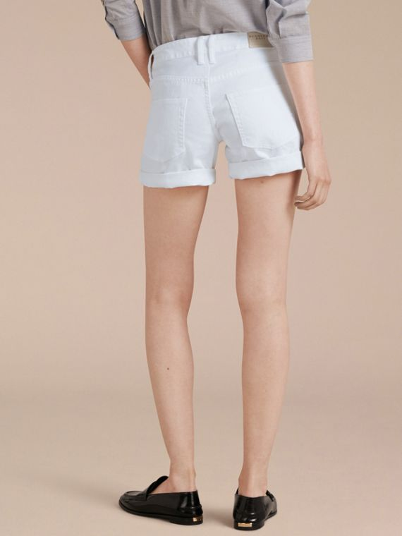 White Low-Rise Japanese Denim Shorts - cell image 2