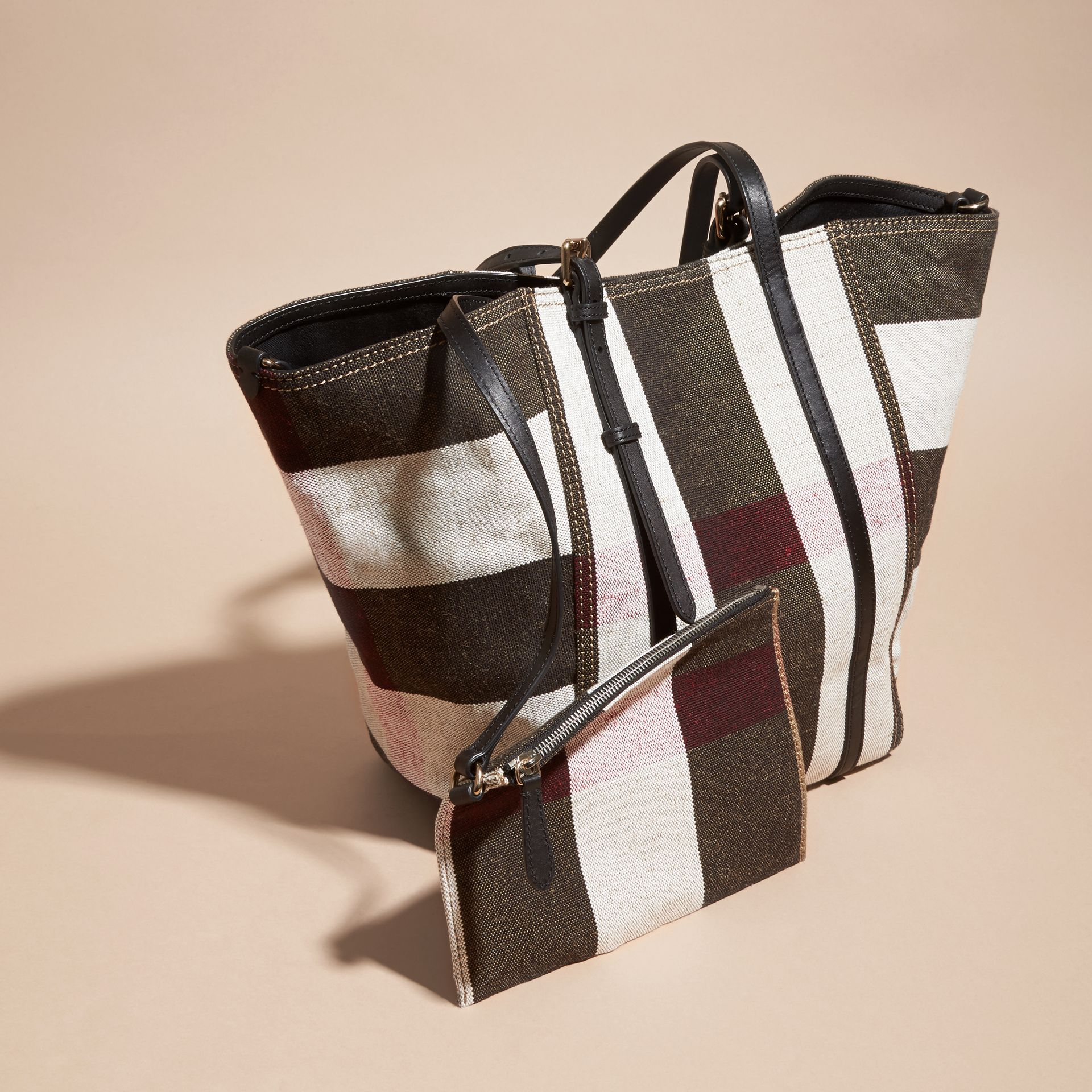 Black Striped Canvas Tote with Leather Trim - gallery image 7