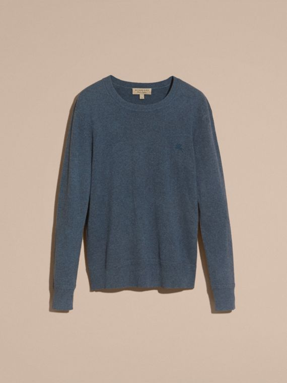 Crew Neck Cashmere Sweater Airforce Blue - cell image 3