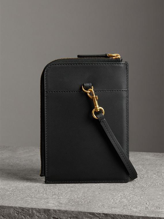 Trench Leather Ziparound Passport Holder in Black | Burberry - cell image 2