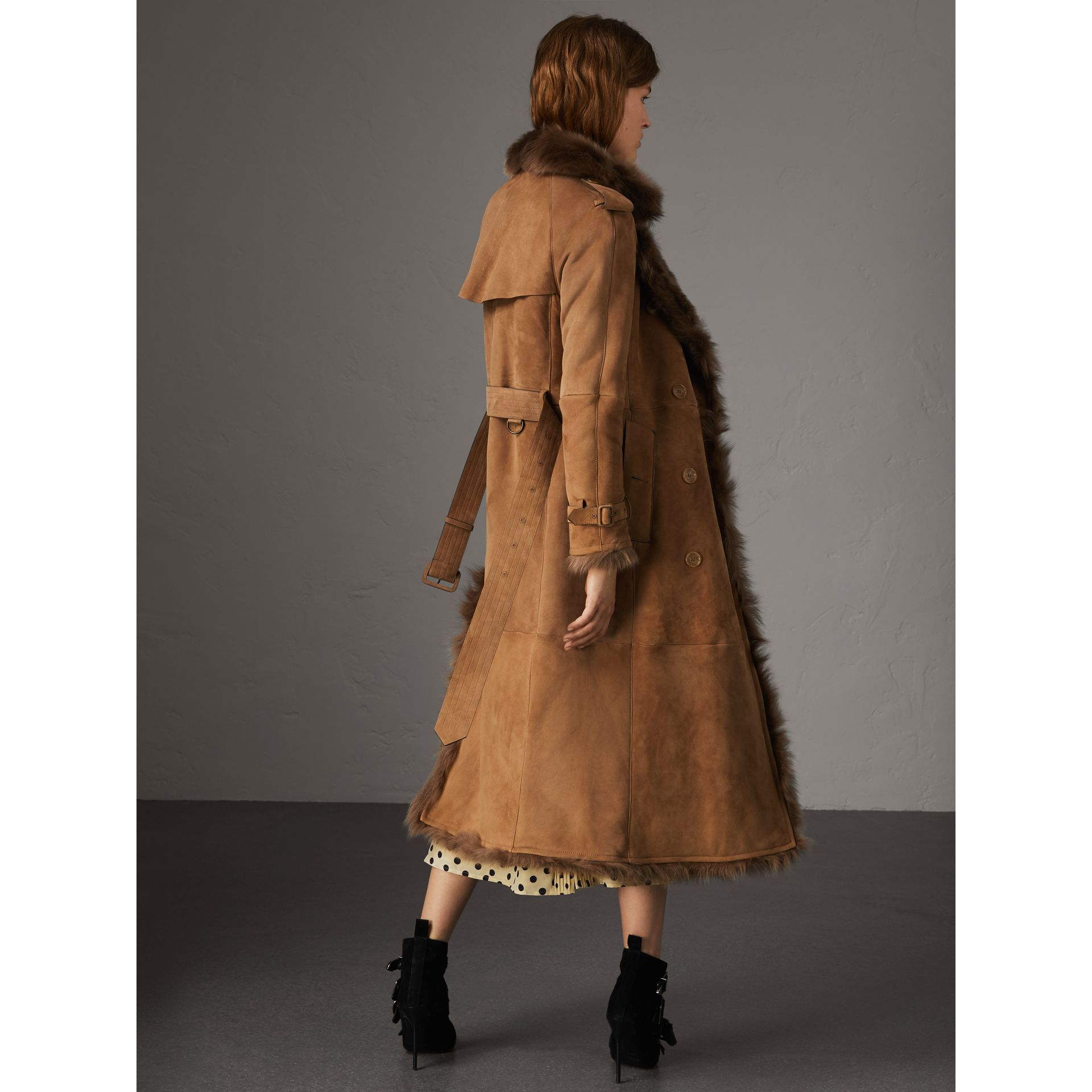 Shearling Trench Coat in Dark Camel - Women | Burberry - gallery image 3