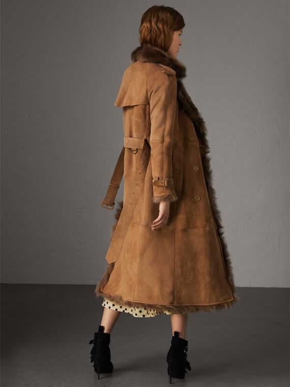 Shearling Trench Coat in Dark Camel - Women | Burberry Canada - cell image 2