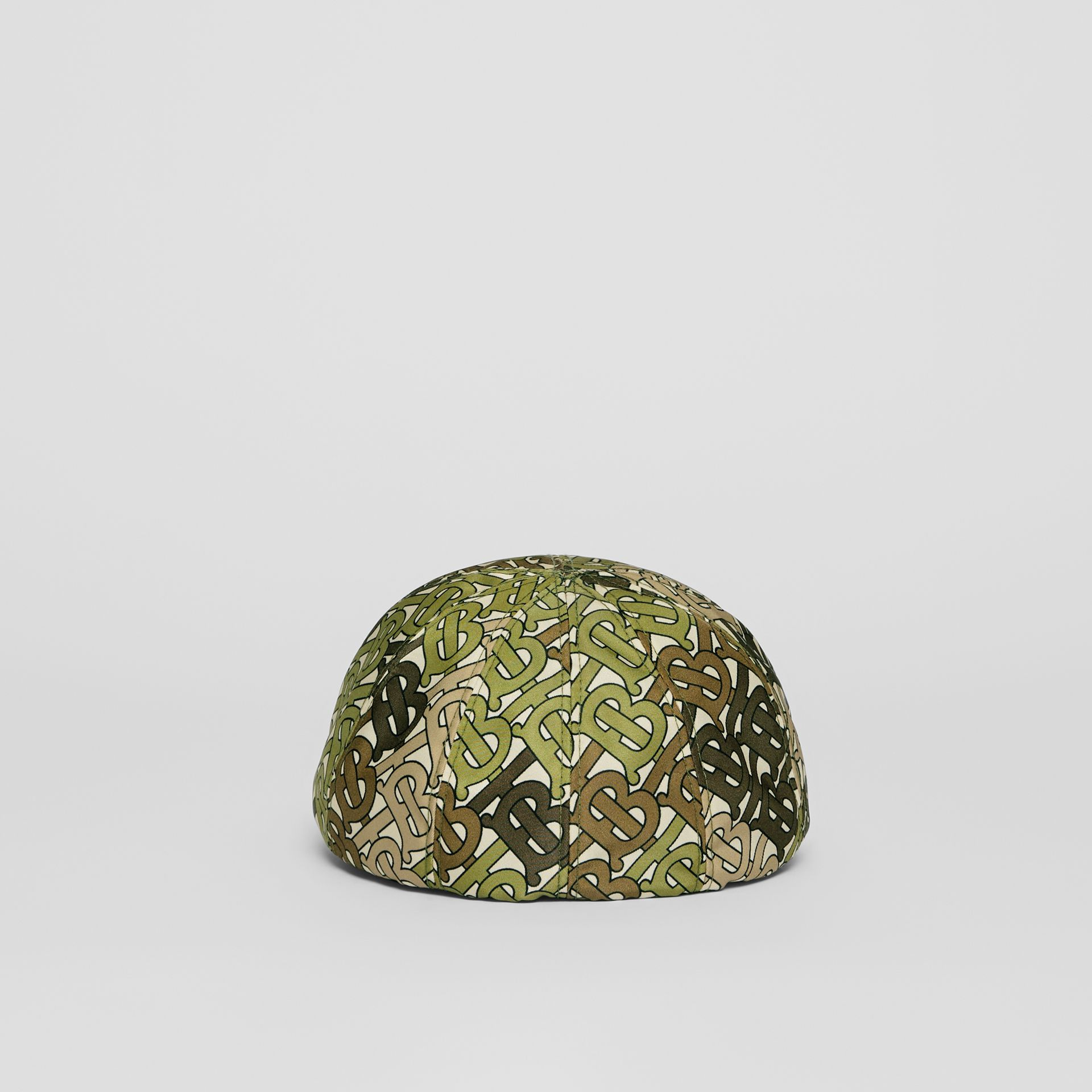 Monogram Print Nylon Flat Cap in Khaki Green | Burberry - gallery image 6