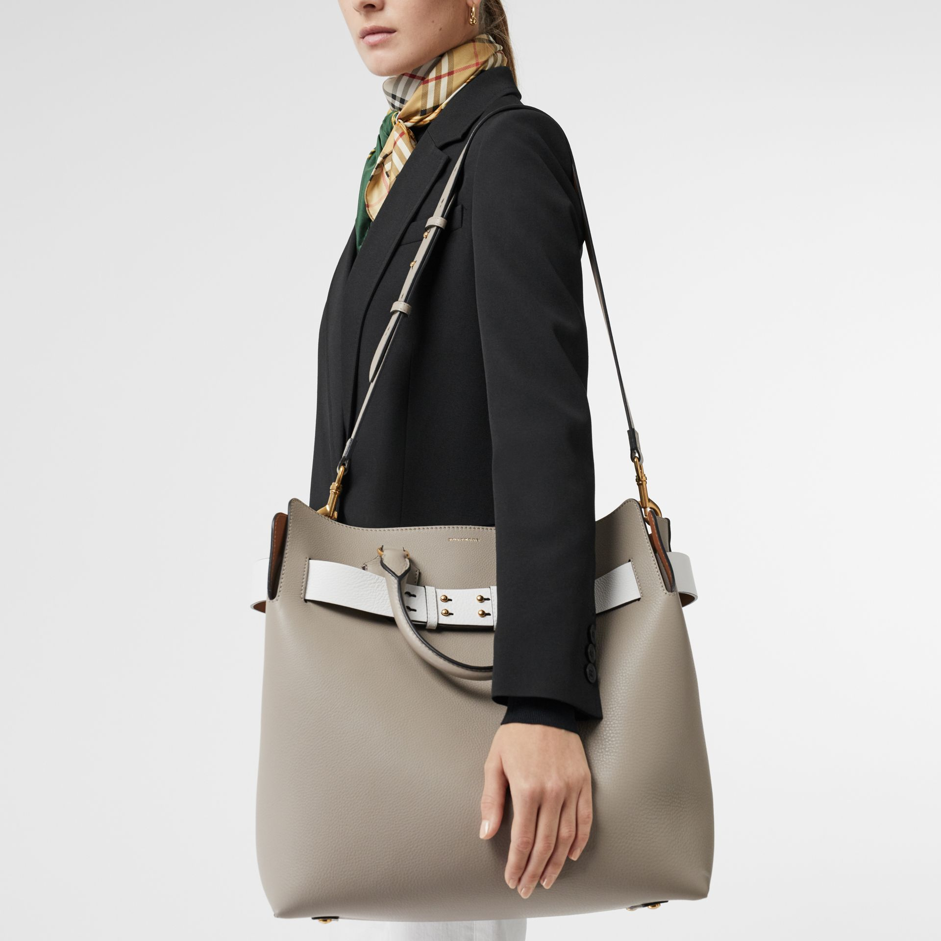The Large Leather Belt Bag in Mineral Grey | Burberry Singapore - gallery image 7