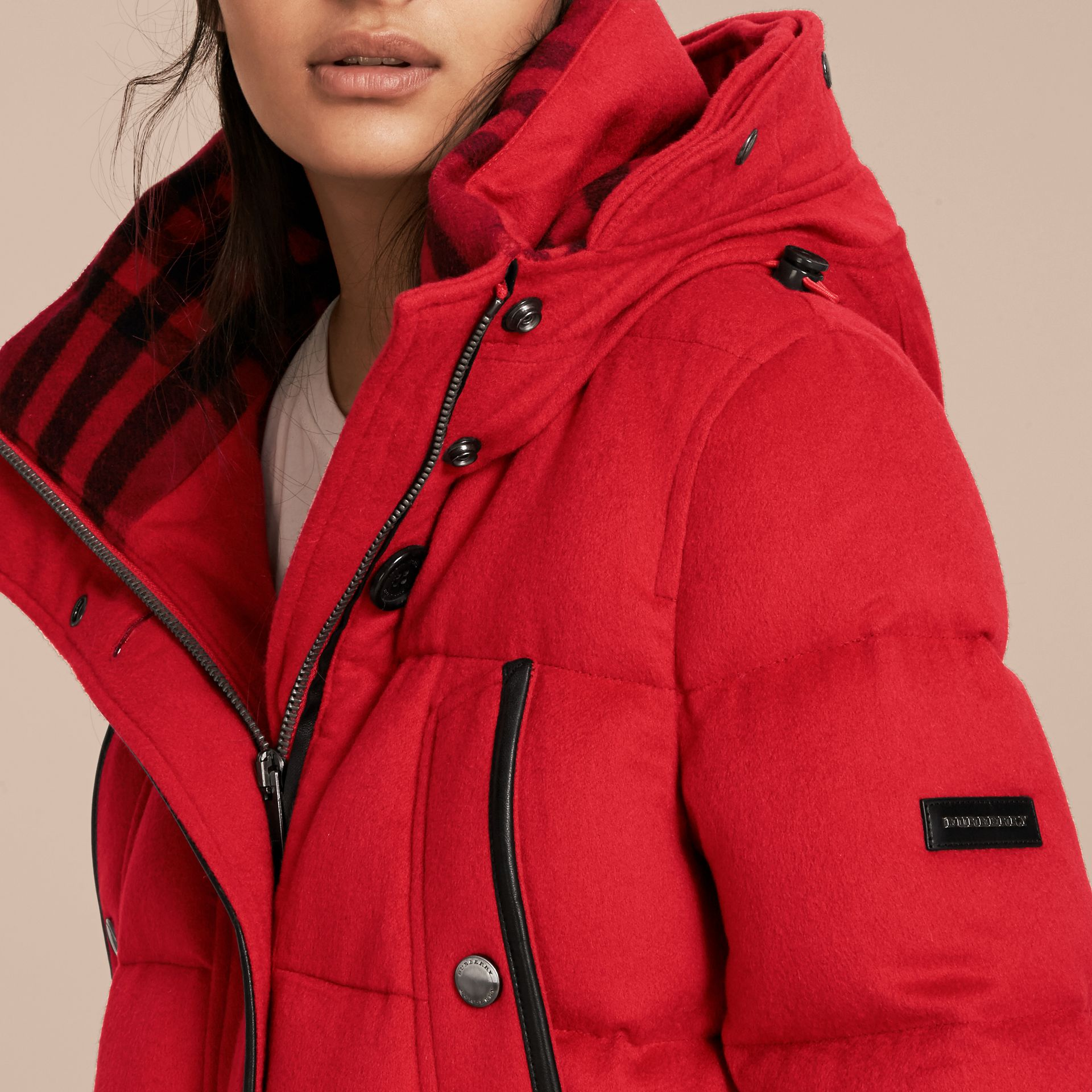 Down-filled Cashmere Coat with Detachable Fur Trim in Parade Red - gallery image 6