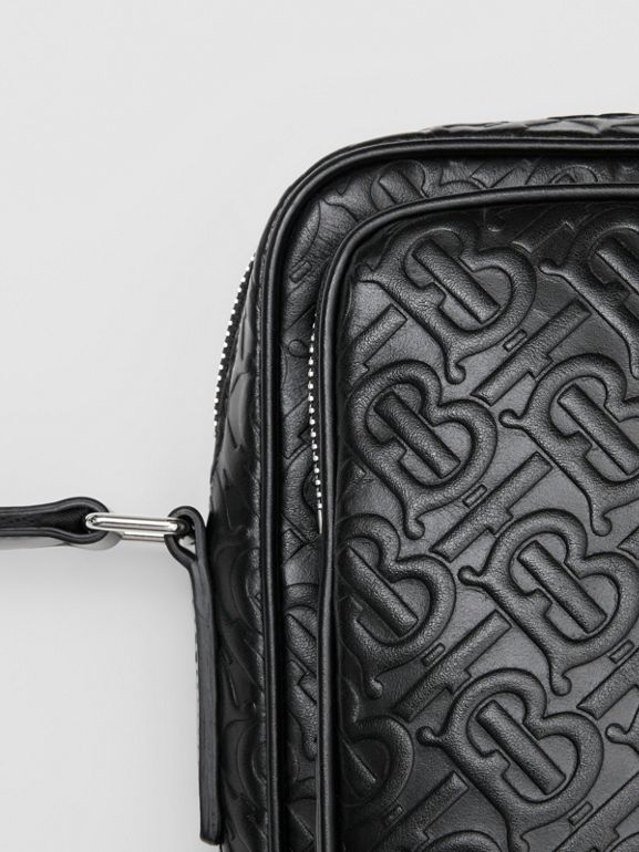 Monogram Leather Crossbody Bag in Black - Men | Burberry Canada - cell image 1