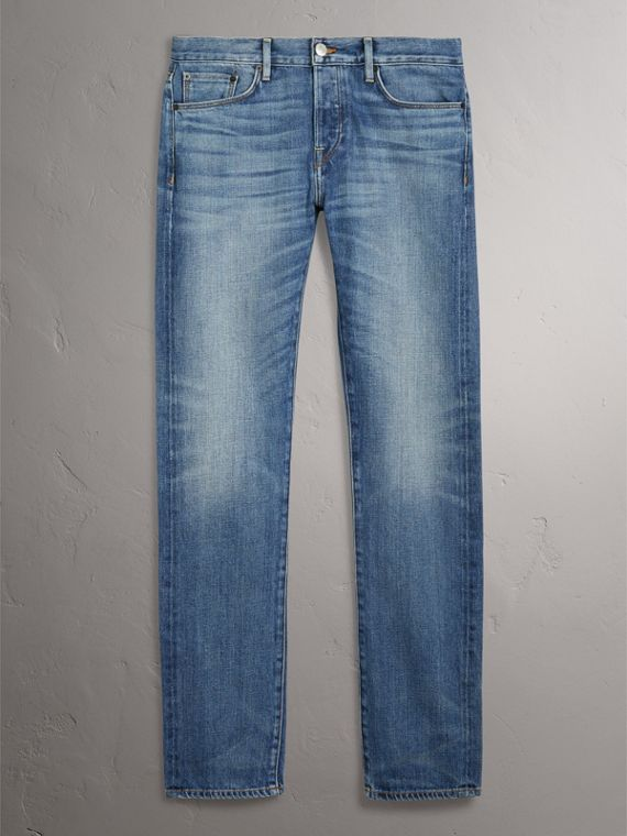 Straight Fit Washed Japanese Selvedge Denim Jeans in Light Indigo - Men | Burberry United Kingdom - cell image 3