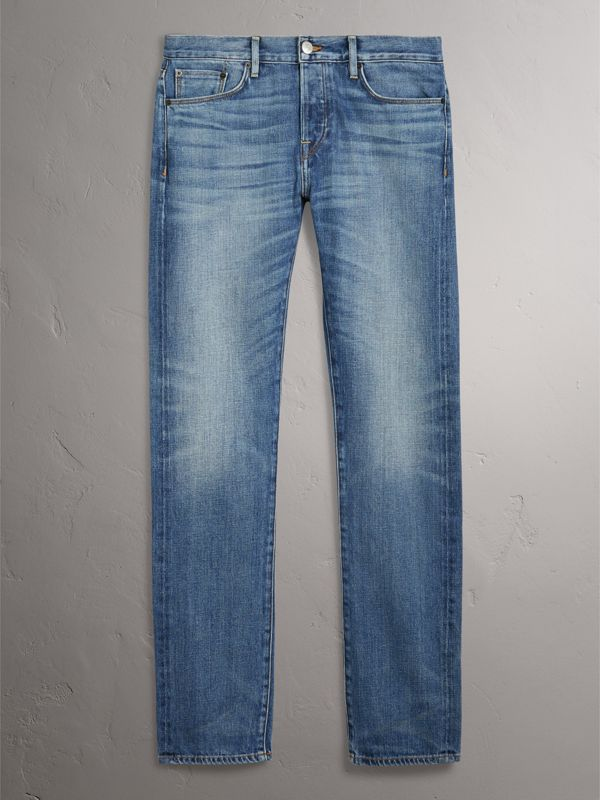 Straight Fit Washed Japanese Selvedge Denim Jeans in Light Indigo - Men | Burberry Singapore - cell image 3