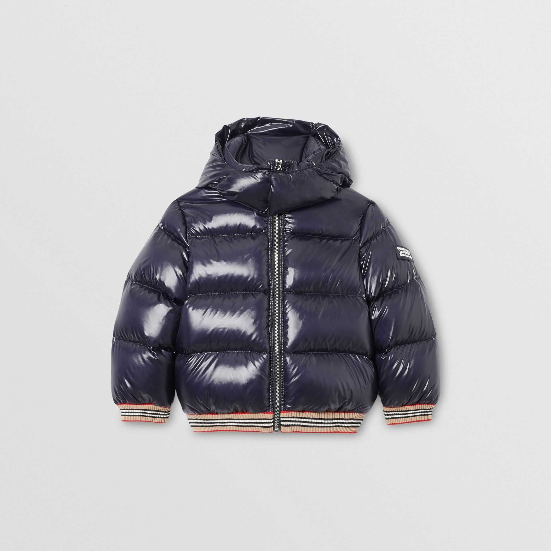 Icon Stripe Detail Down-filled Hooded Puffer Jacket in Bright Navy | Burberry Canada - gallery image 0