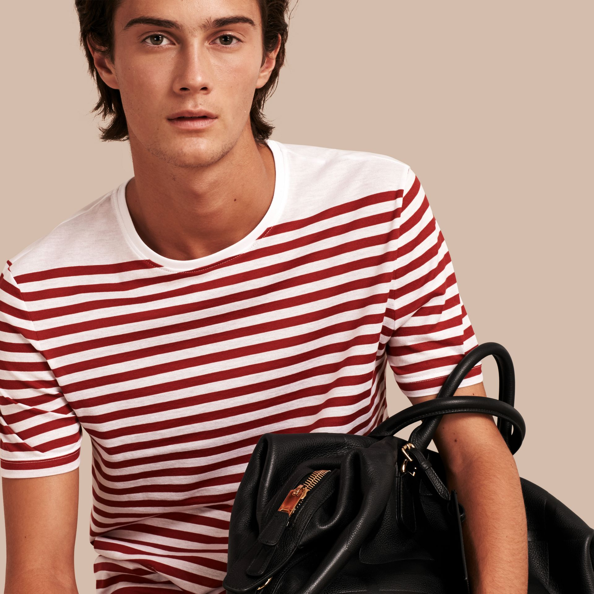 Rust red Striped Cotton T-shirt Rust Red - gallery image 1