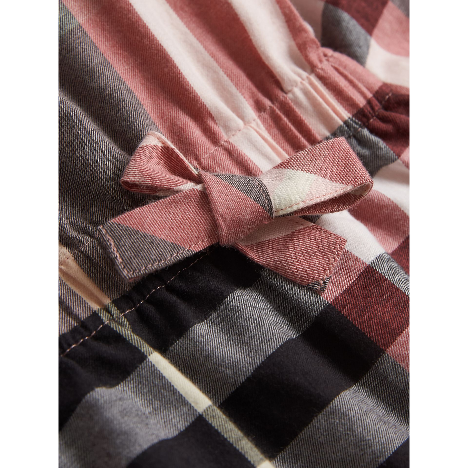 Gathered Check Cotton Flannel Dress in Dusty Pink - Girl | Burberry - gallery image 2