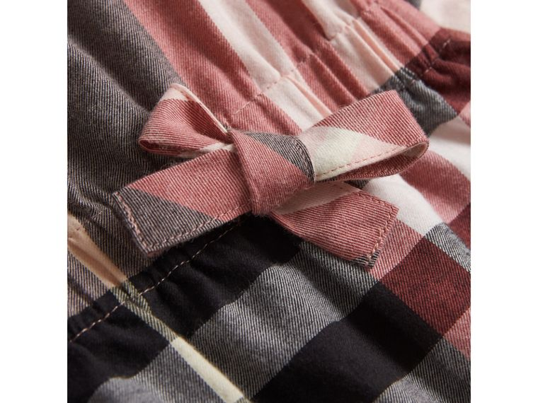 Gathered Check Cotton Flannel Dress in Dusty Pink - Girl | Burberry - cell image 1