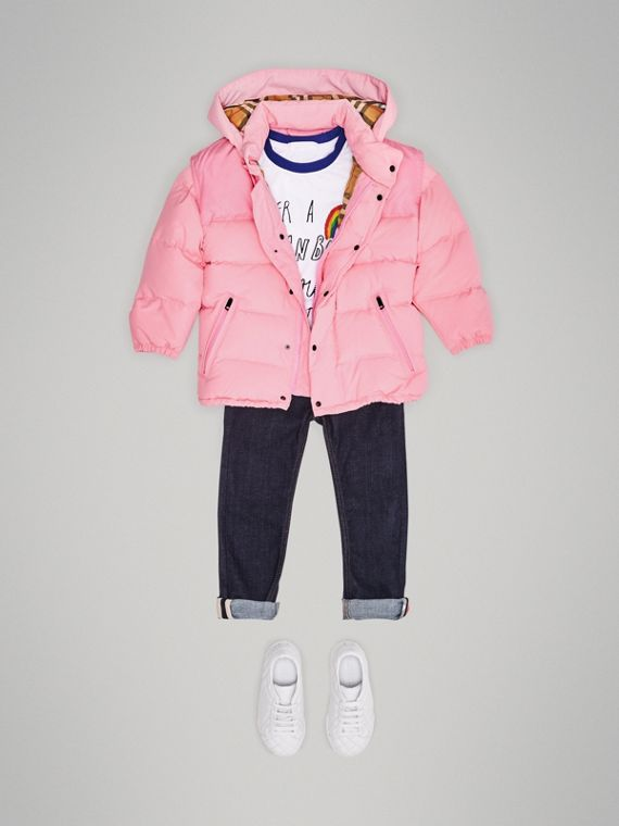 Detachable Hood Down-filled Puffer Jacket in Ice Pink