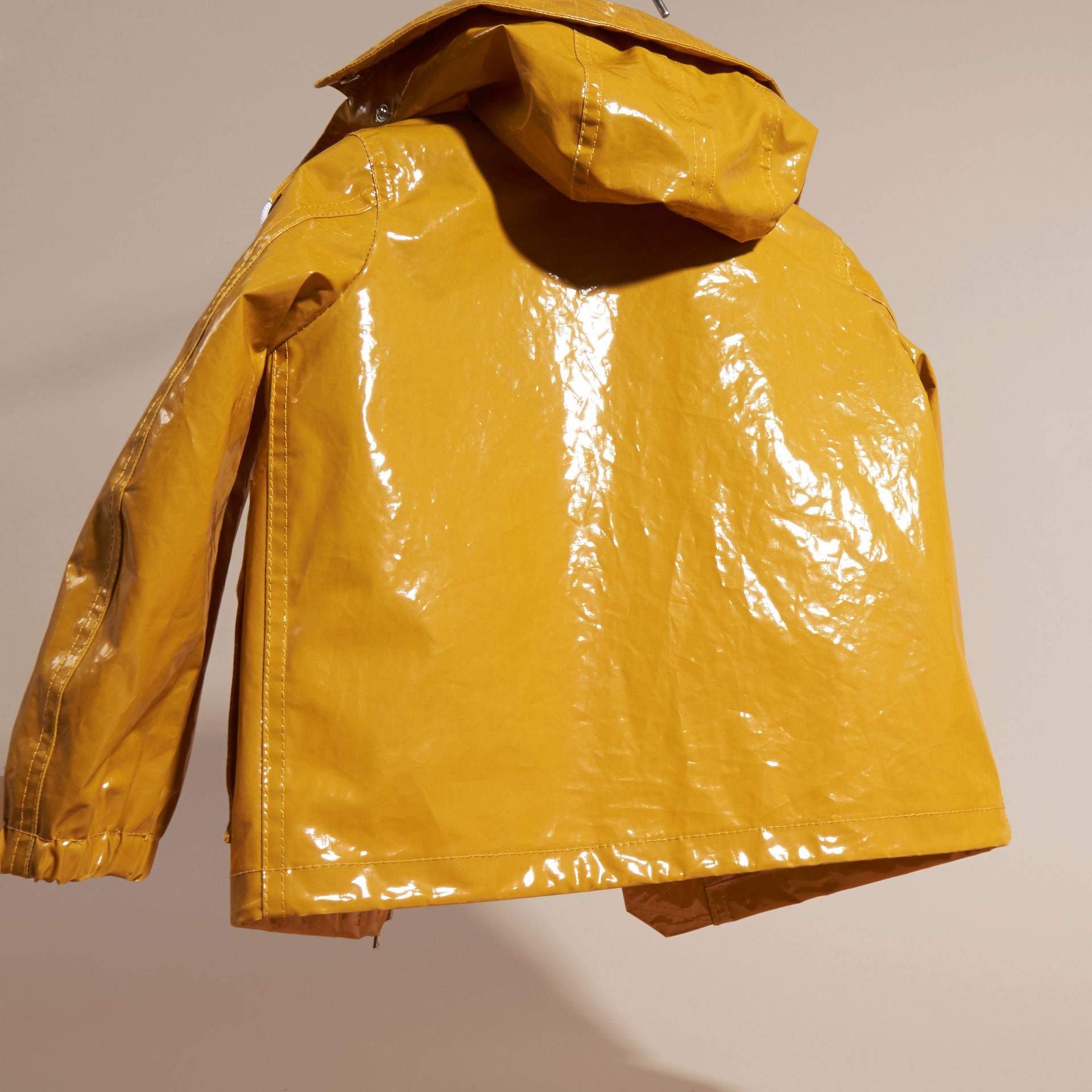 Glossy Showerproof Jacket with Detachable Hood - gallery image 4