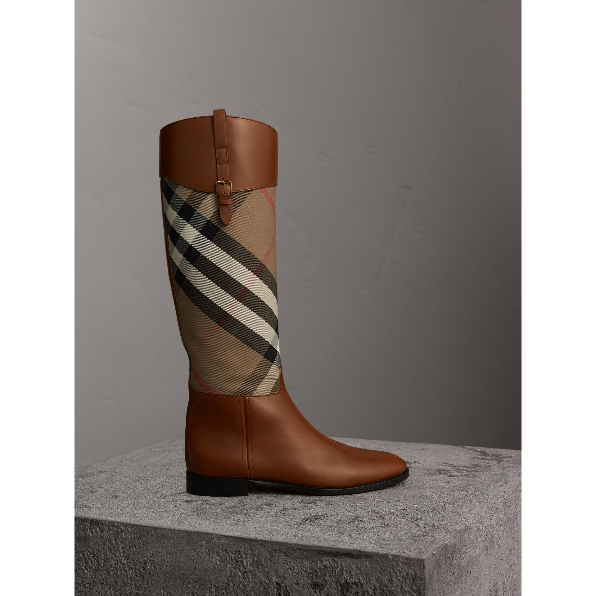 House Check and Leather Riding Boots in Chestnut - Women | Burberry - gallery image 1