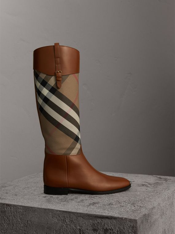 House Check and Leather Riding Boots in Chestnut