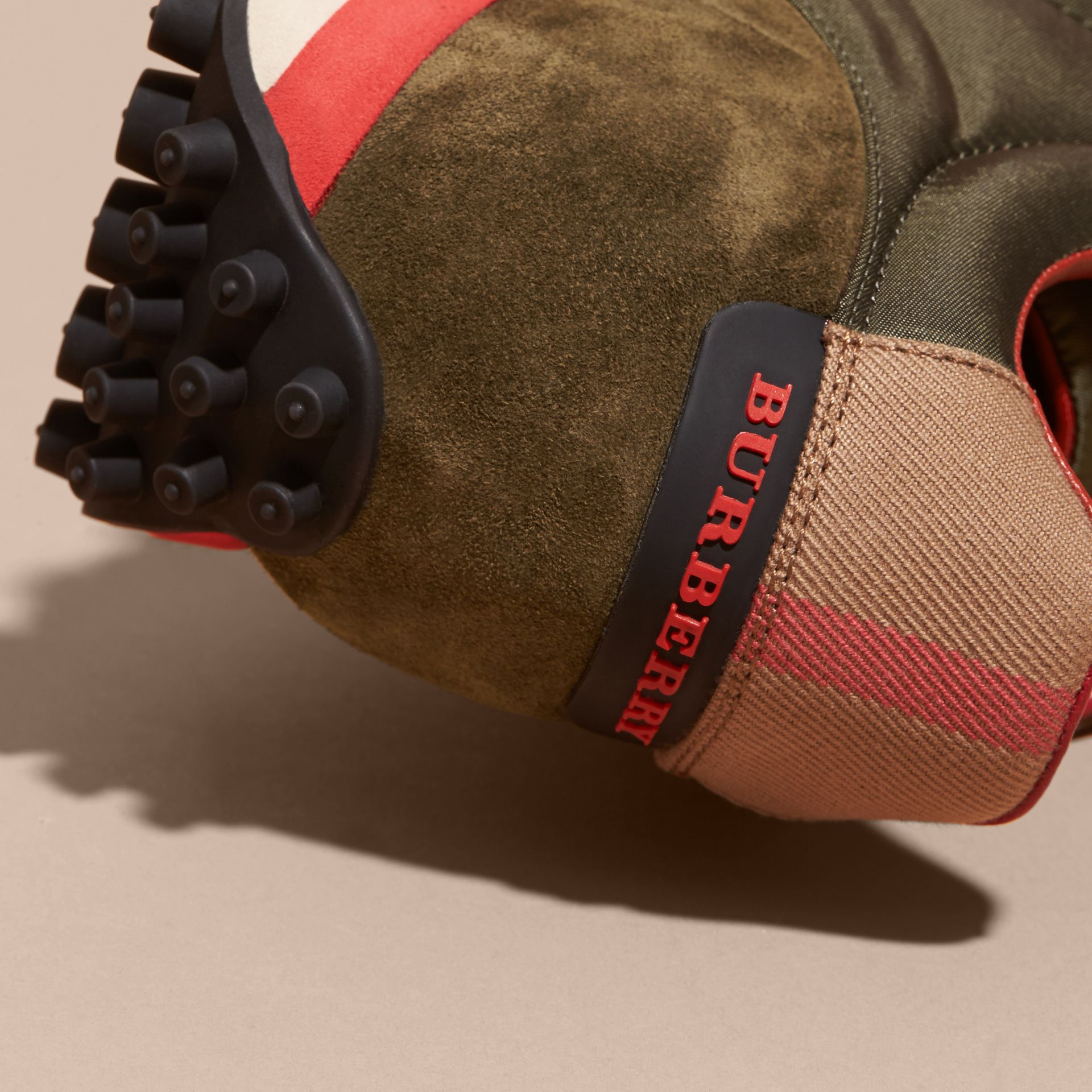 House Check Trim Suede and Technical Satin Sneakers in Olive Green - Men | Burberry - gallery image 2