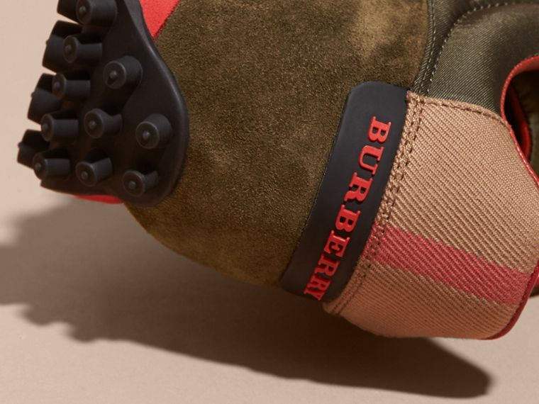 House Check Trim Suede and Technical Satin Sneakers in Olive Green - Men | Burberry - cell image 1