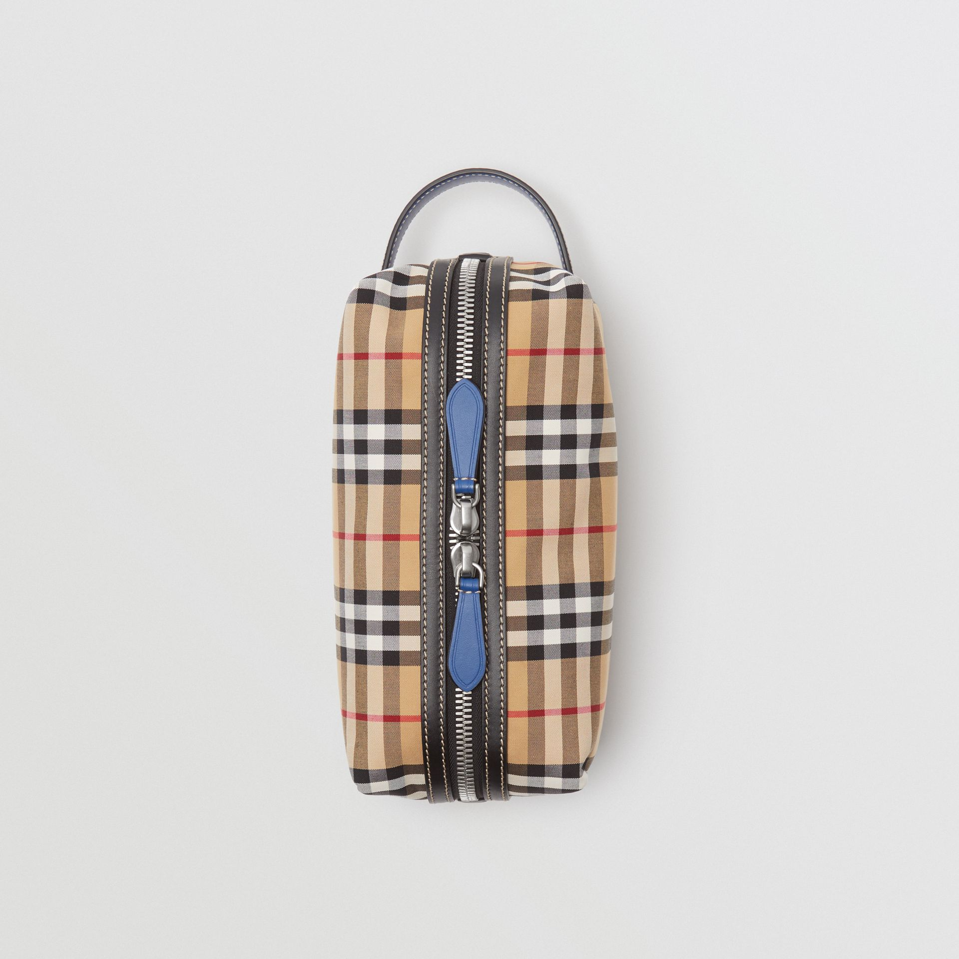 Vintage Check and Leather Pouch in Dark Cyan | Burberry Australia - gallery image 0