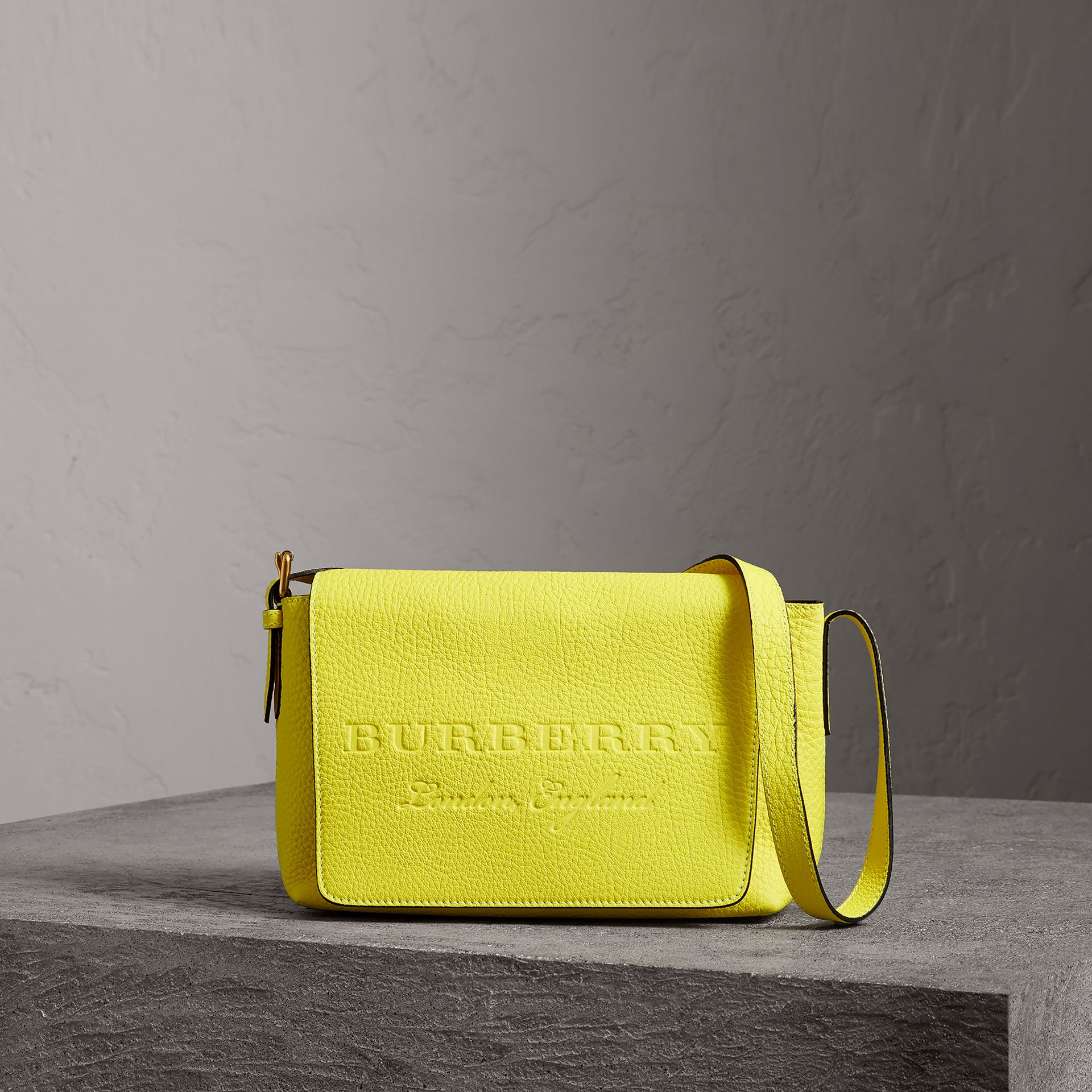 Small Embossed Neon Leather Messenger Bag in Yellow | Burberry - gallery image 0