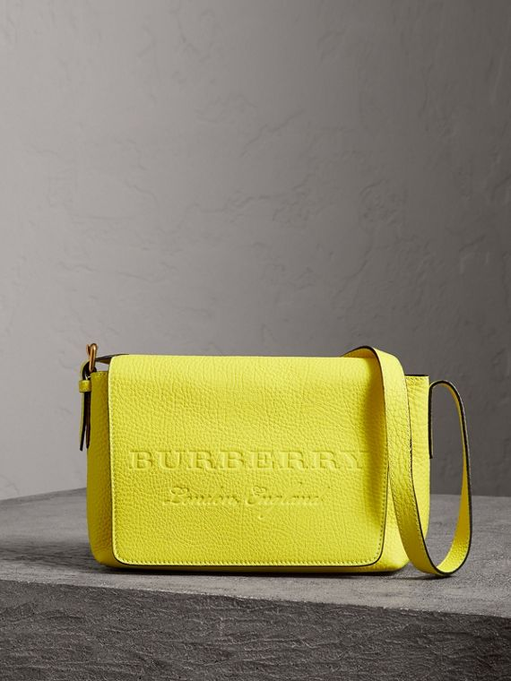 Small Embossed Neon Leather Messenger Bag in Yellow