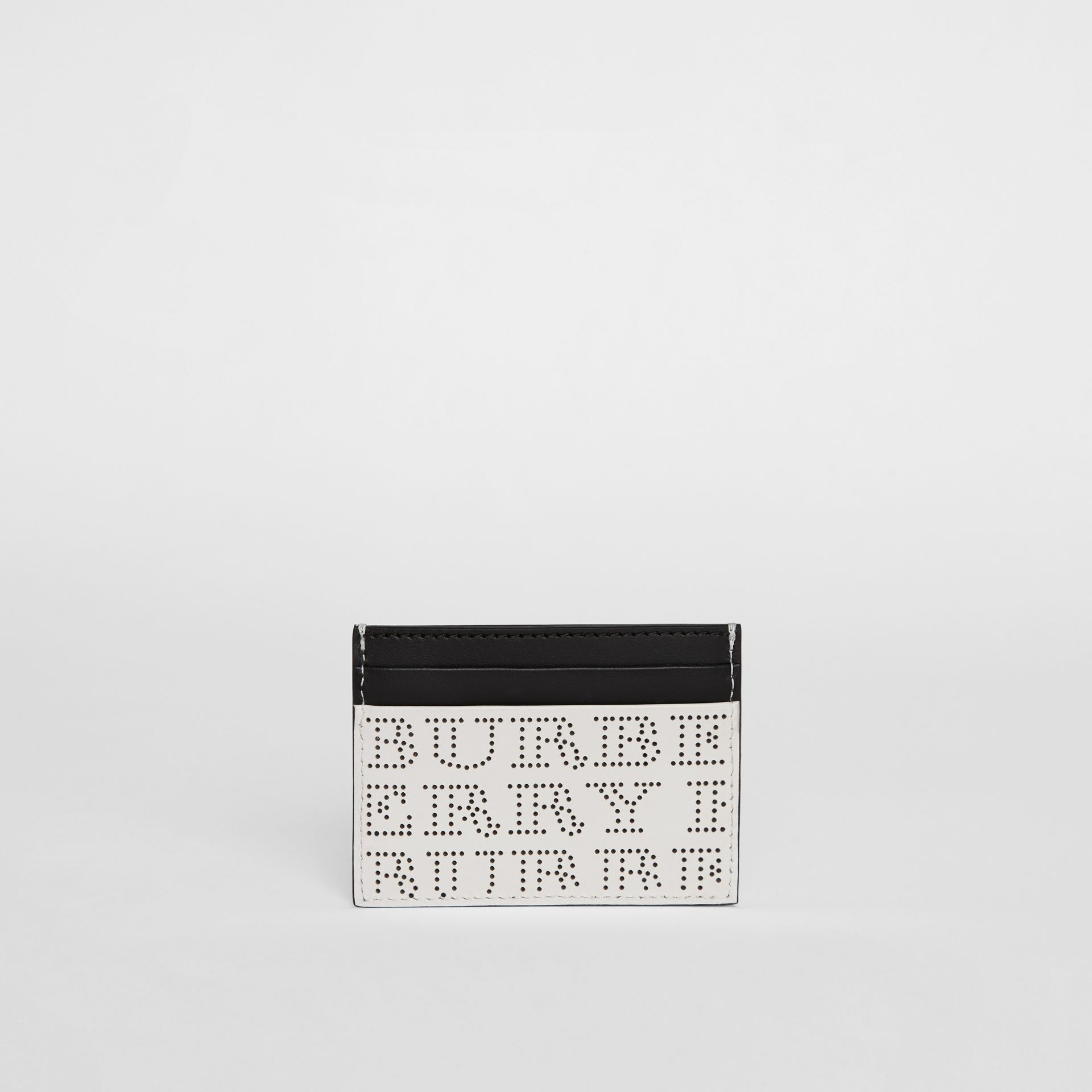 Perforated Logo Leather Card Case in Optic White - Men | Burberry - gallery image 5