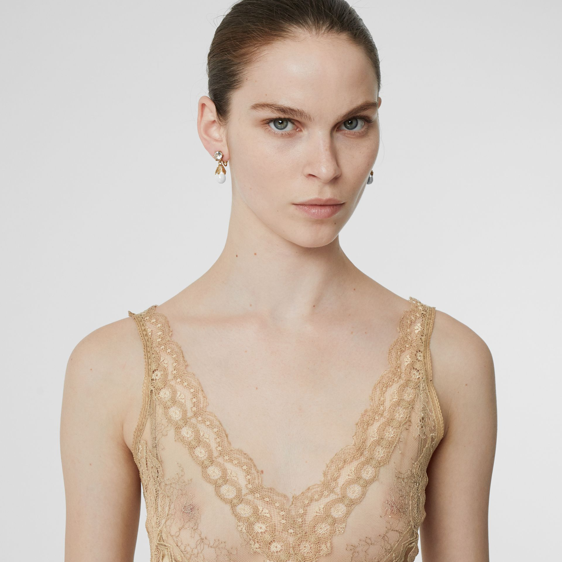 Lace Detail Silk Slip Dress in Honey - Women | Burberry Hong Kong - gallery image 1