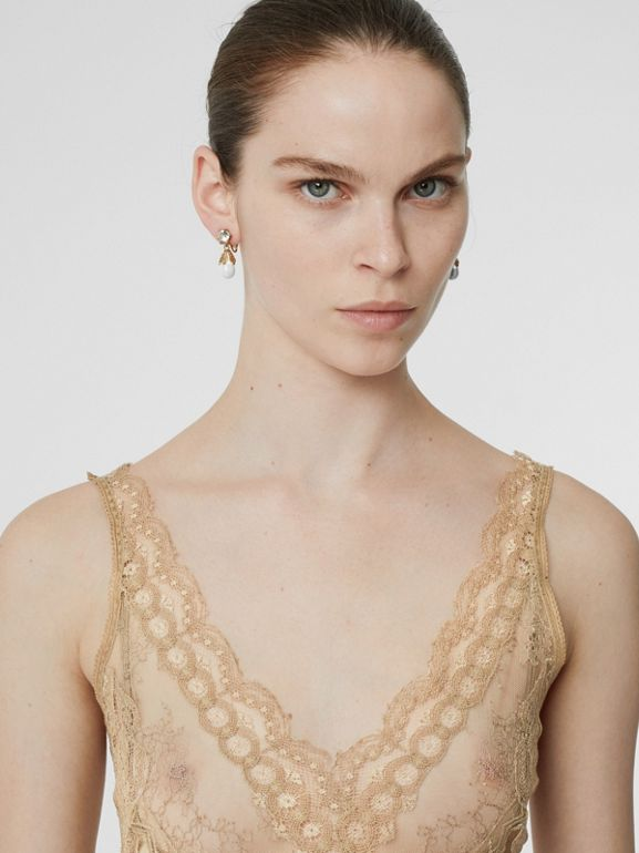 Lace Detail Silk Slip Dress in Honey - Women | Burberry Australia - cell image 1