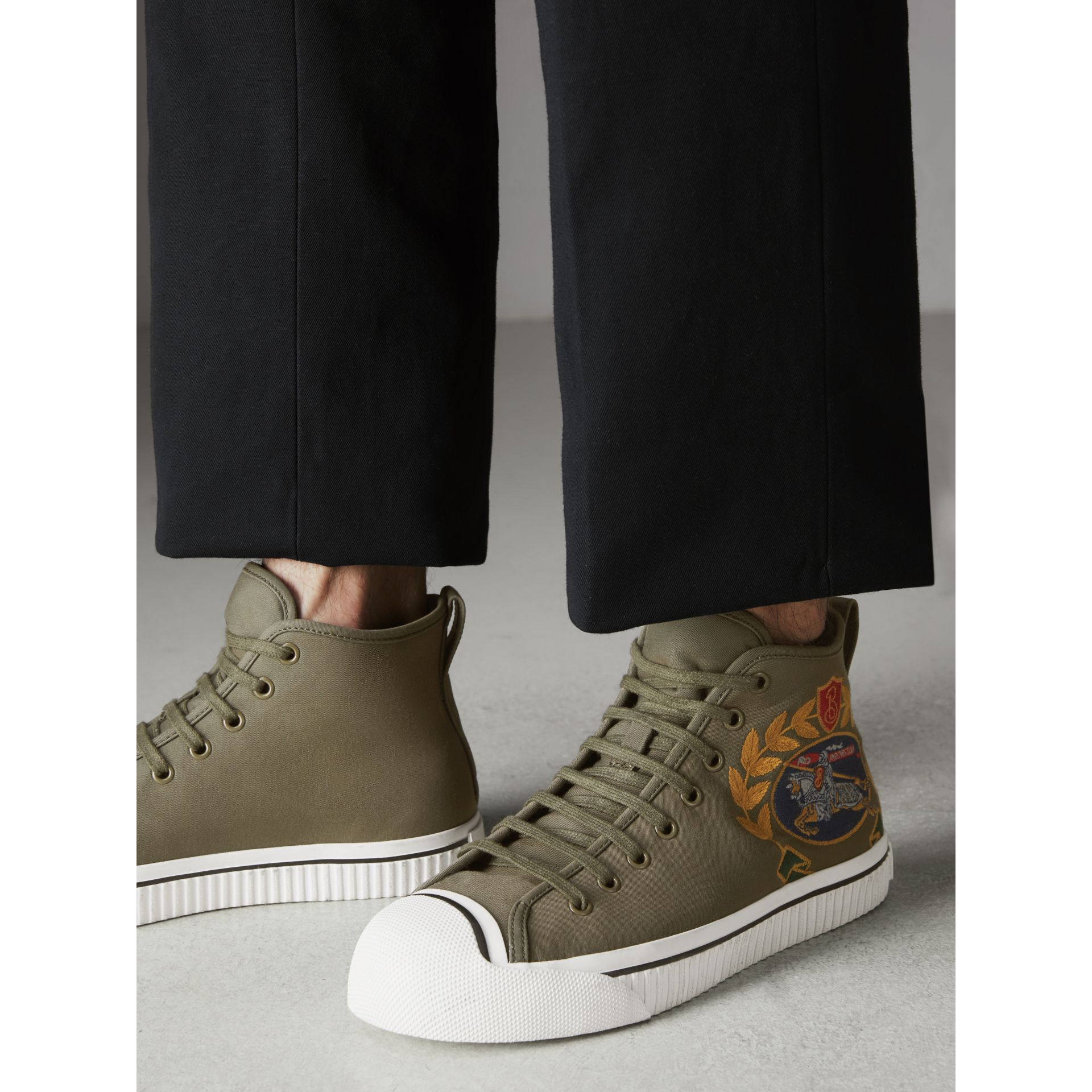 Archive Logo Cotton Gabardine High-top Sneakers in Oregano - Men | Burberry - gallery image 2