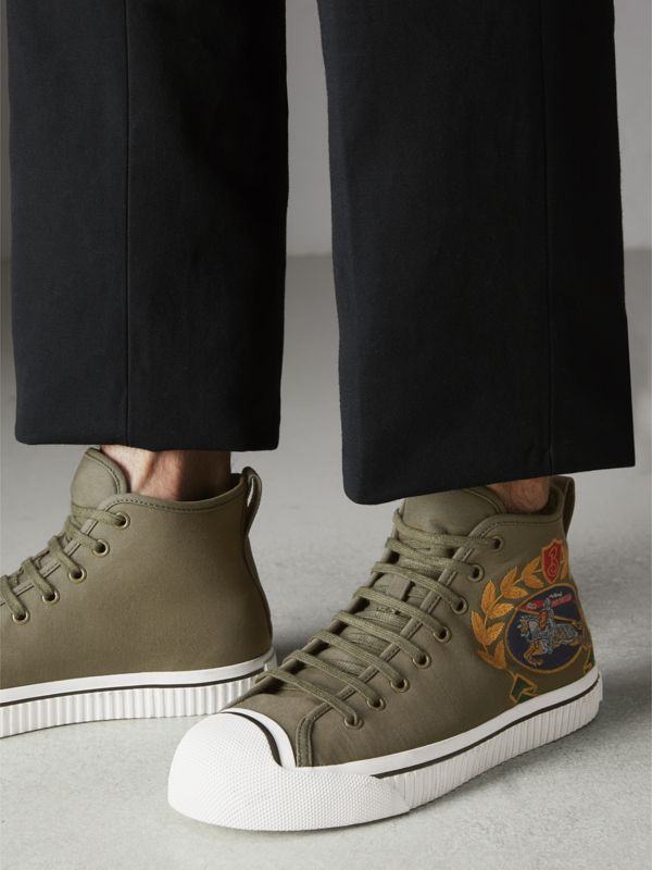 Archive Logo Cotton Gabardine High-top Sneakers in Oregano - Men | Burberry - cell image 2