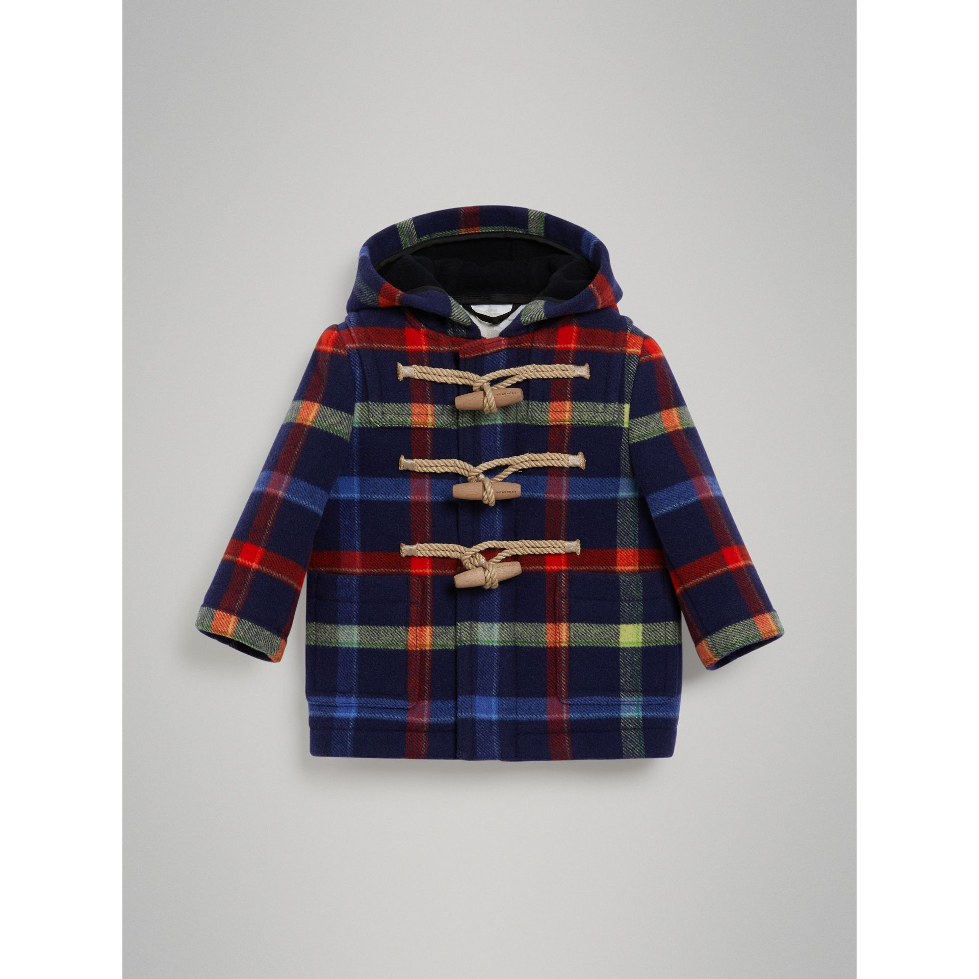 Check Double-faced Wool Duffle Coat in Navy - Children | Burberry United Kingdom - gallery image 0