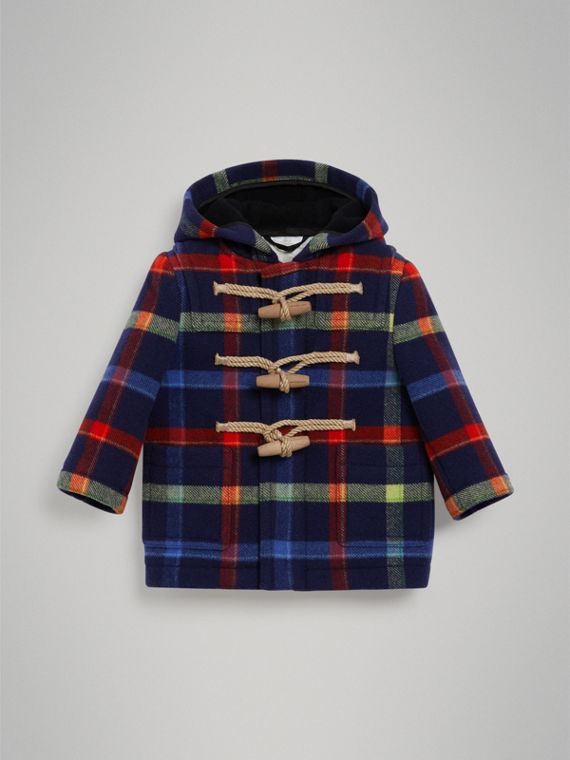 Check Double-faced Wool Duffle Coat in Navy