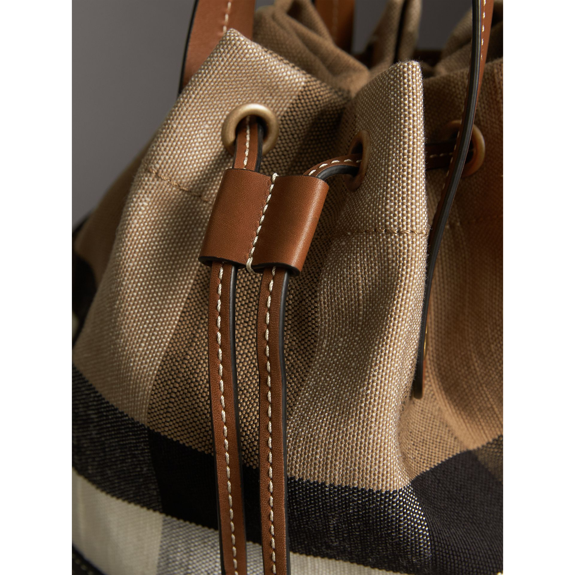Small Canvas Check and Leather Bucket Bag in Tan - Women | Burberry - gallery image 6