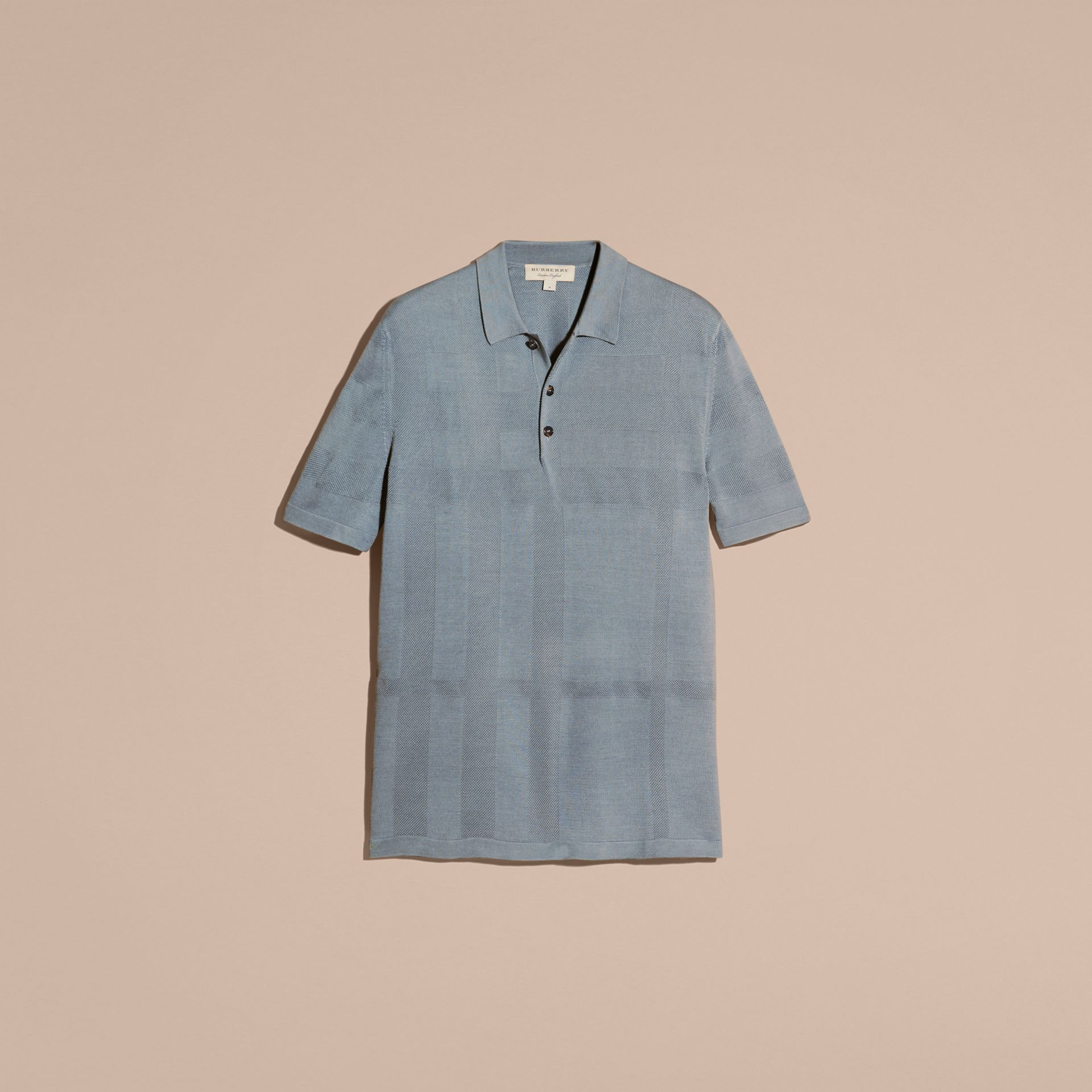 Check Jacquard Piqué Silk Cotton Polo Shirt in Slate Blue - Men | Burberry - gallery image 4