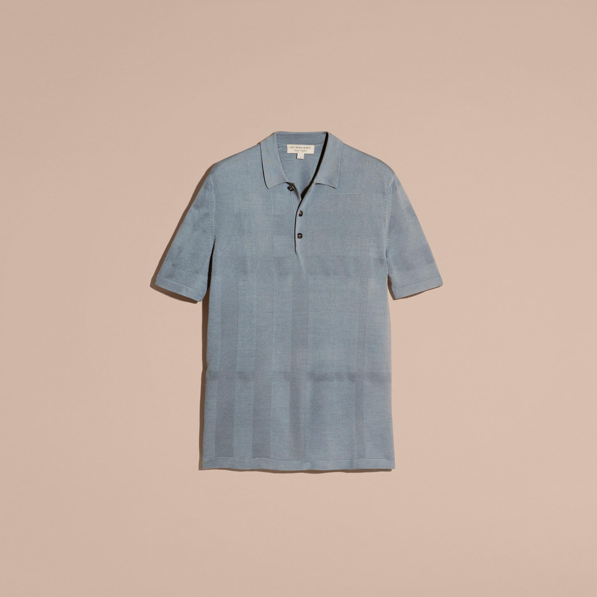 チェックジャカード ピケシルクコットン ポロシャツ (スレートブルー) - メンズ | バーバリー - ギャラリーイメージ 4