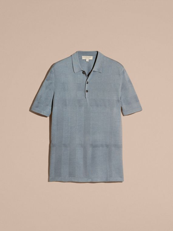 Check Jacquard Piqué Silk Cotton Polo Shirt in Slate Blue - Men | Burberry - cell image 3