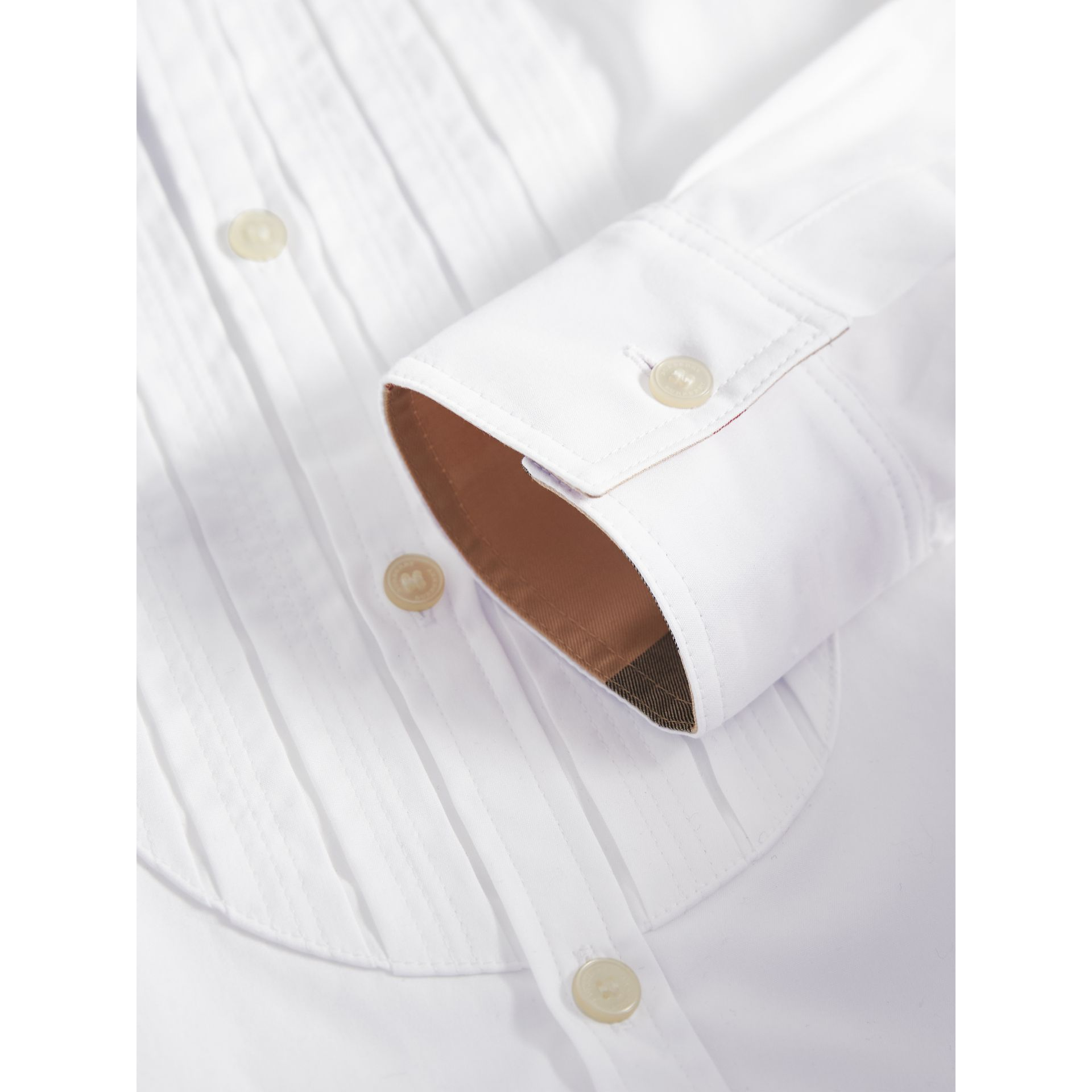 Collarless Cotton Poplin Dress Shirt in White - Boy | Burberry - gallery image 2