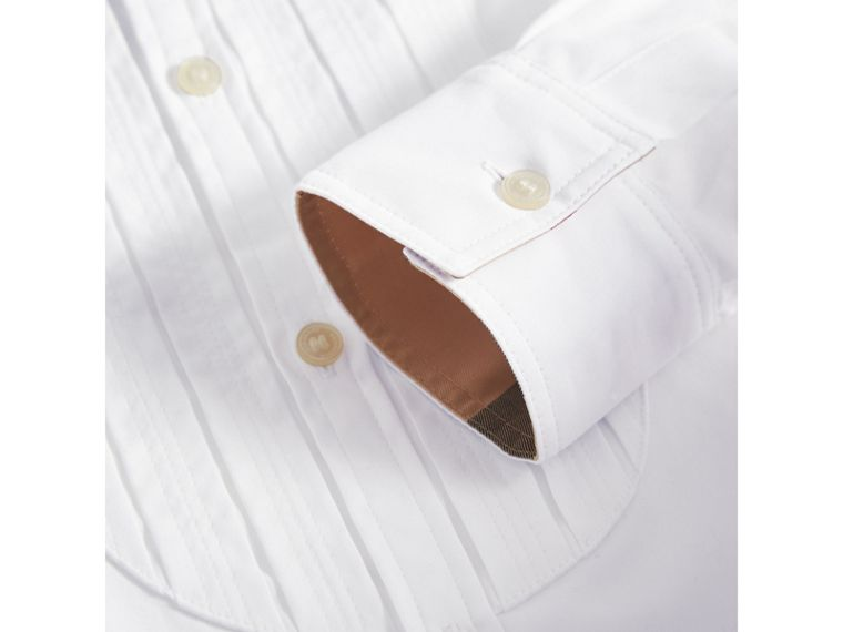 Collarless Cotton Poplin Dress Shirt in White - Boy | Burberry - cell image 1
