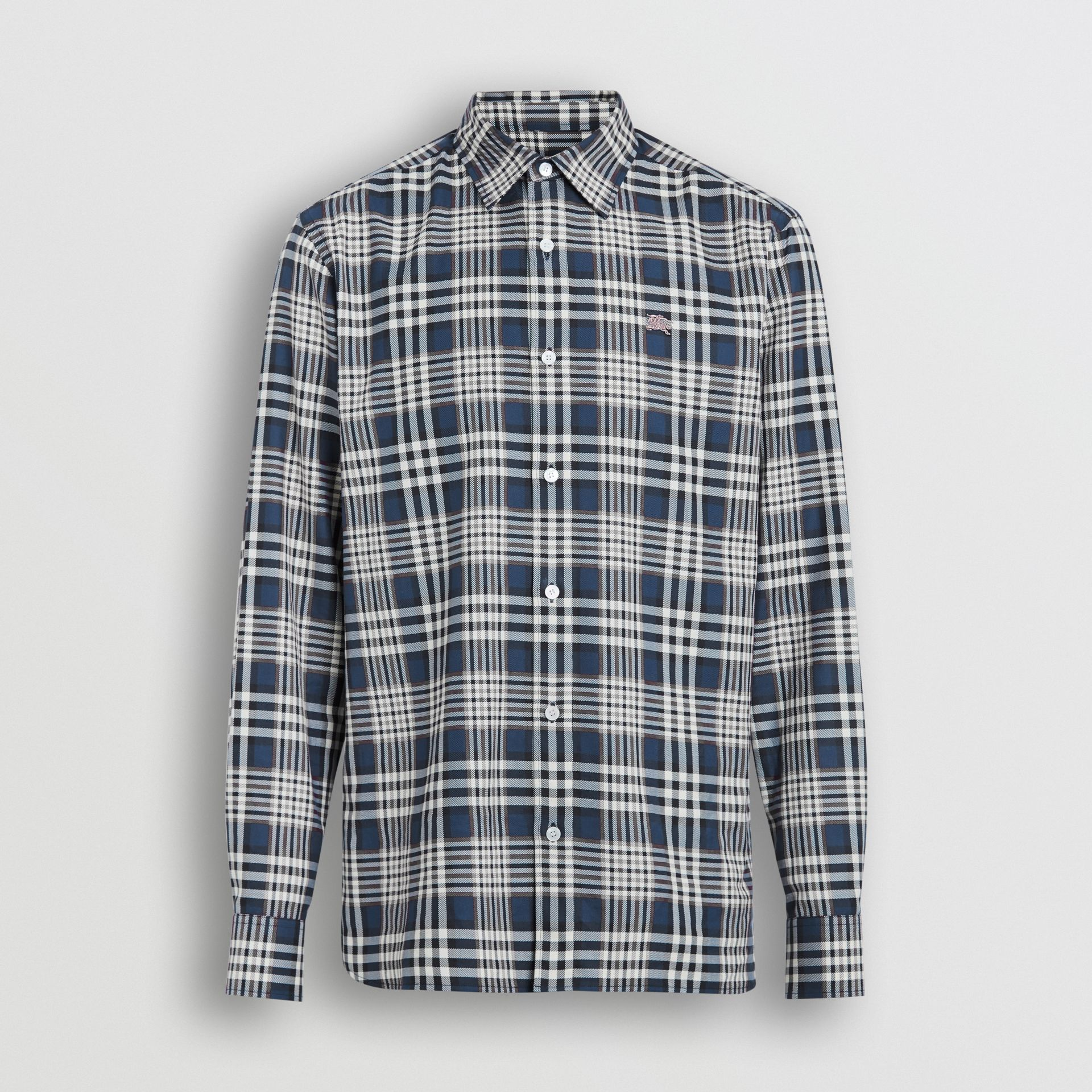 Check Cotton Shirt in Pewter Blue - Men | Burberry Singapore - gallery image 2