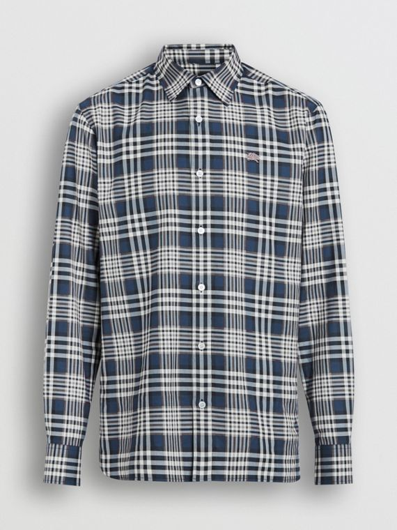 Check Cotton Shirt in Pewter Blue
