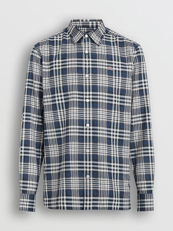 Check Cotton Shirt in Pewter Blue - Men | Burberry Singapore - cell image 2