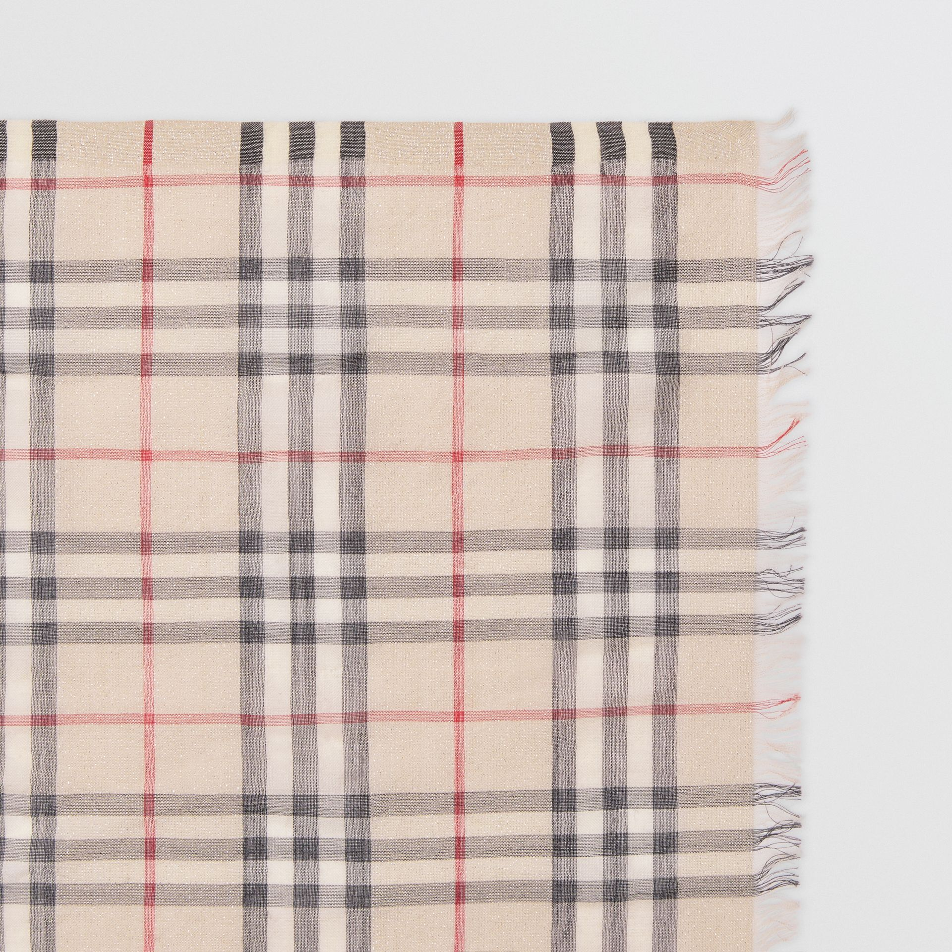 Metallic Vintage Check Wool Silk Blend Scarf in Stone | Burberry United States - gallery image 1